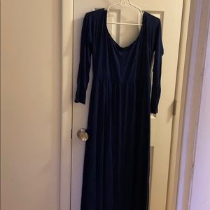 Pink blush navy maternity off the shoulder maxi